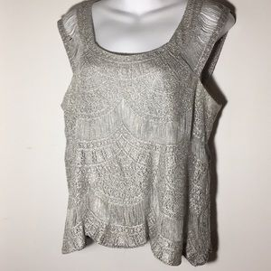 Silver Sleeveless Blouse - Medium